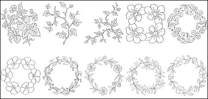 Flower Type Of Line Drawing Vector Diagram 6 Free Vector