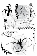 Flourishes & Swirls,Flowers & Trees