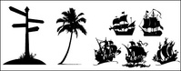 road,sign,coconut,tree,sailing,icon,material