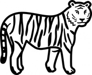 tiger,standing,looking,watching,outline,animal,cat,cartoon,nature,media,clip art,public domain,image,png,svg,vector