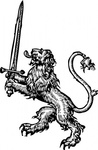 lion,sword,animal,mammal,feline,weapon,heraldry,outline,black and white,externalsource
