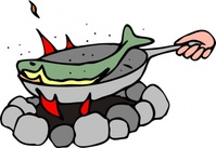frying,fish,fire,camp,camping,campfire,cooking,pan,media,clip art,public domain,image,svg