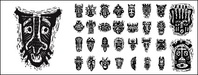 african,tribal,mask,pictorial,material,vector