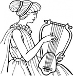 lyre,musical,instrument,people,woman,music,ancient,musical instrument,string instrument,line art,black and white,contour,outline