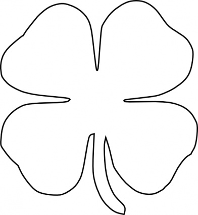 Four_leaf_clover_vector_clip_art on Two Fall Leaves Coloring Page
