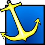 yellow,anchor,blue,background,sea