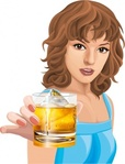 young,woman,holding,drink