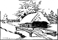 snowy,scene,snow,cabin,bridge,media,clip art,externalsource,public domain,image,png,svg