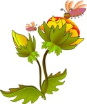 flower,bee,bee on flower,cartoon,nature,media,clip art,public domain,image,png,svg