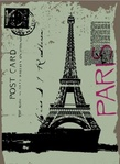 post,card,eiffel,tower,drawing