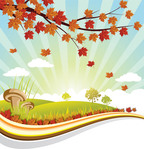 autumn,blue,brochure,cloud,flyer,grass,green,landscape,leaf,print,red,sky,summer,sun,sunrise,tamplate,template,tree,yellow