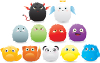 cute,devil,angel,hairy,ball,furry,adorable,colorful,creature,cartoon,bird,character,christmas,drop