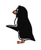 penguin,bird,animal,tux,point,cartoon,bow tie,proud,show,hold,give,wing,tux