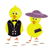 easter,sunday,chick,chicken,holiday,hat,cartoon,yellow,purple,purse,drawing