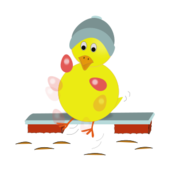 chick,chicken,yellow,blue,hat,kick,kicking,juggling,egg,pink,easter,holiday,spring,bench,cartoon