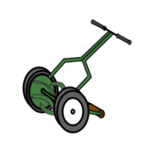 reel mower,mower,lawn mower,cartoon,cartoon mower,push mower,push reel mower
