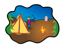 scene,camping,archery,bow and arrow,camper,camp,tent,campfire,tree,sport,arrow,pine