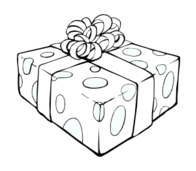 gift,line art,black and white,outline,coloring page,present