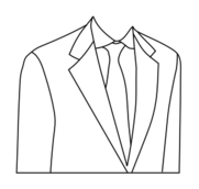 coloring book,suit,clothing,necktie,black and white,line art