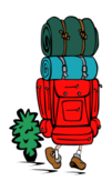 people,camping,backpack,outdoors,cartoon,man,colouring book,externalsource,abiclipart