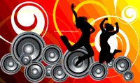 background,background vector,dance,free vector,girl,music,music background,people,silhouette,speaker,swirl