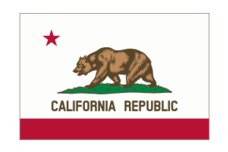 this image contains the california flag. it was carefully designed to match the specification of the flag as described in california law 54-j-03. the bear was rendered directly using the official drawing found in the law. this version of the image contains a thin border.